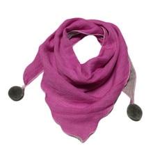 Детские треугольные шарфы, осенне-зимний детский шарф из хлопка и льна для мальчиков и девочек, чистый цвет, волшебный шейный платок, детский модный шарф на шею