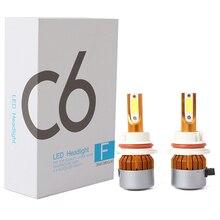 ФОТО 2x c6 cob 36w 6500k headlamp light car headlight h1 h3 h4 h7 h11 9005 9006 9004 9007 led lamp universal car headlight kit