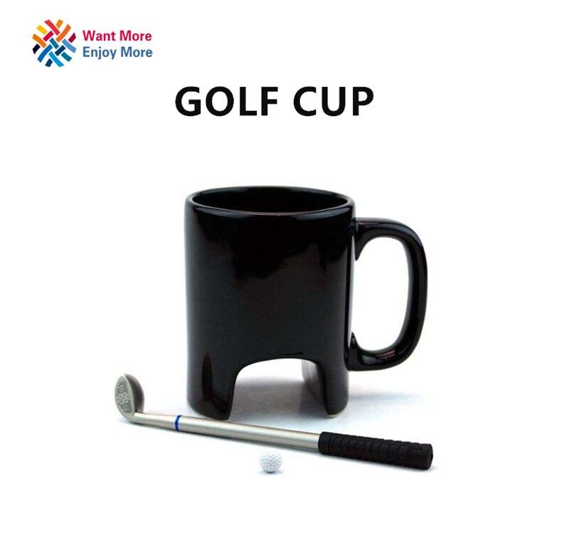 Creative Golf ceramic cup funny black coffee mug office Casual ceramic cup Golf stick pen birthday gift