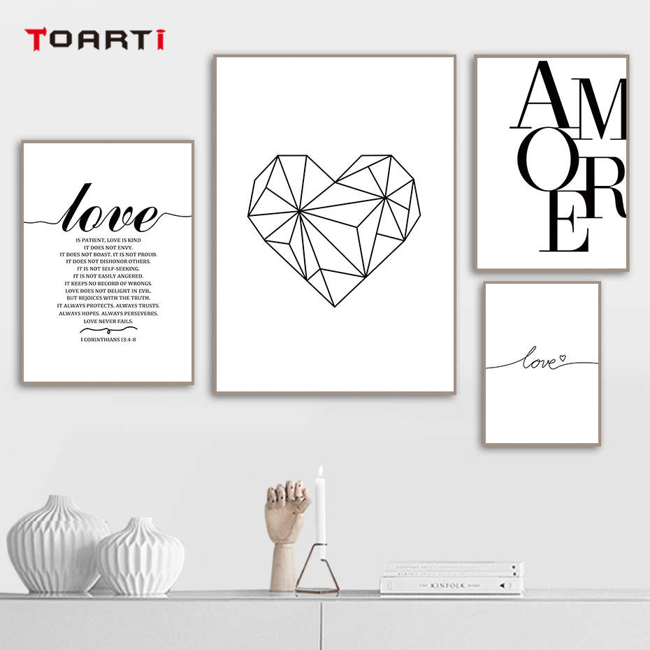 Modern Love Quote Prints Posters Heart Abstract Line Drawing Canvas Painting On The Wall For Living Room Bedroom Home Decor Art
