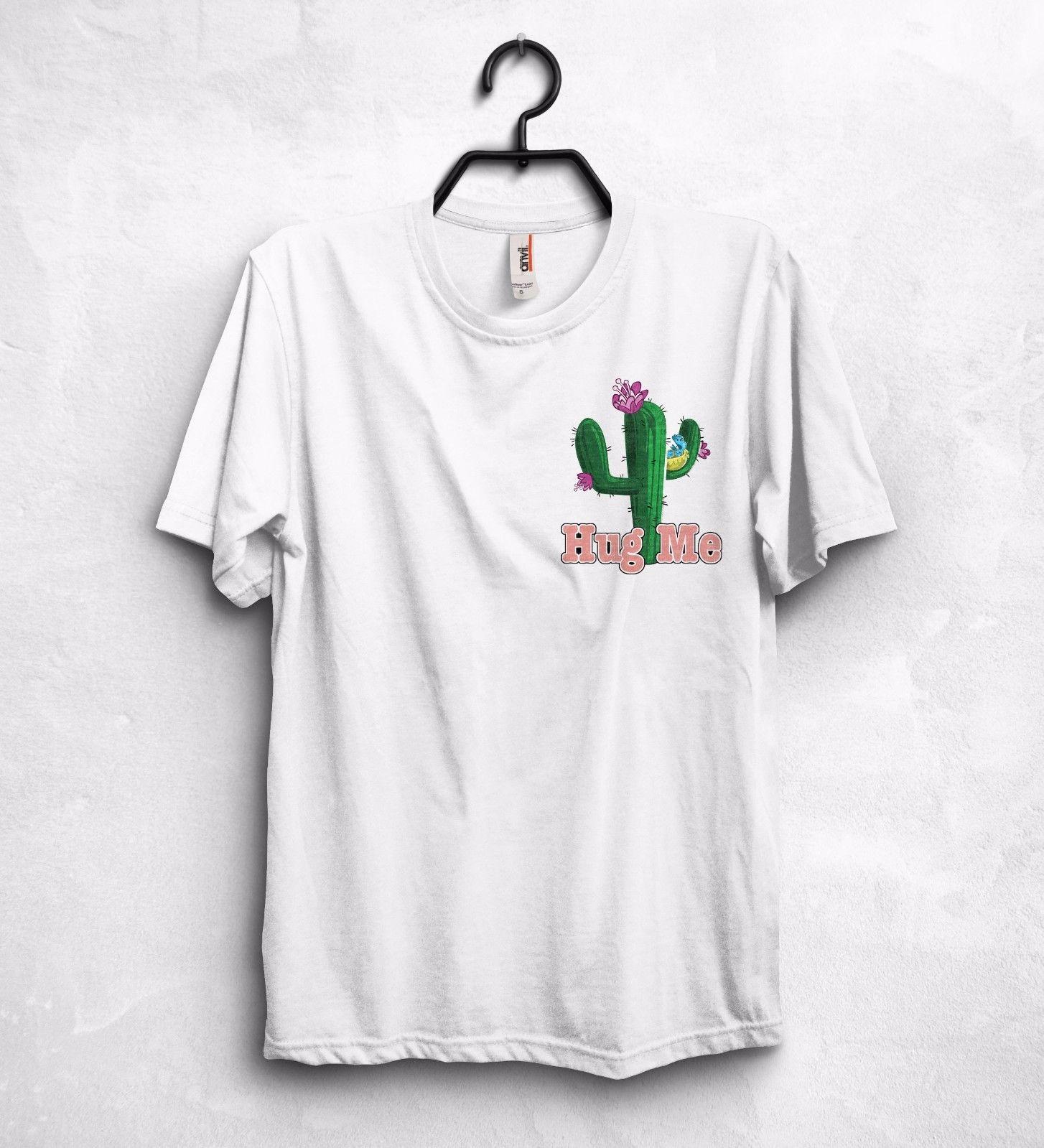 Shirt design green - Hug Me Cactus Corporation T Shirt Top Cool Sweet Logo Gift Love Design Funny Printing Casual