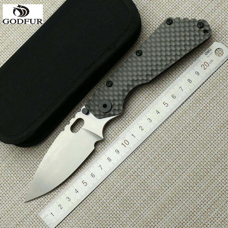 GODFUR Outdoors SMF Folding Knife D2 blade titanium alloy handle Copper washer camping Survival hunting fruit
