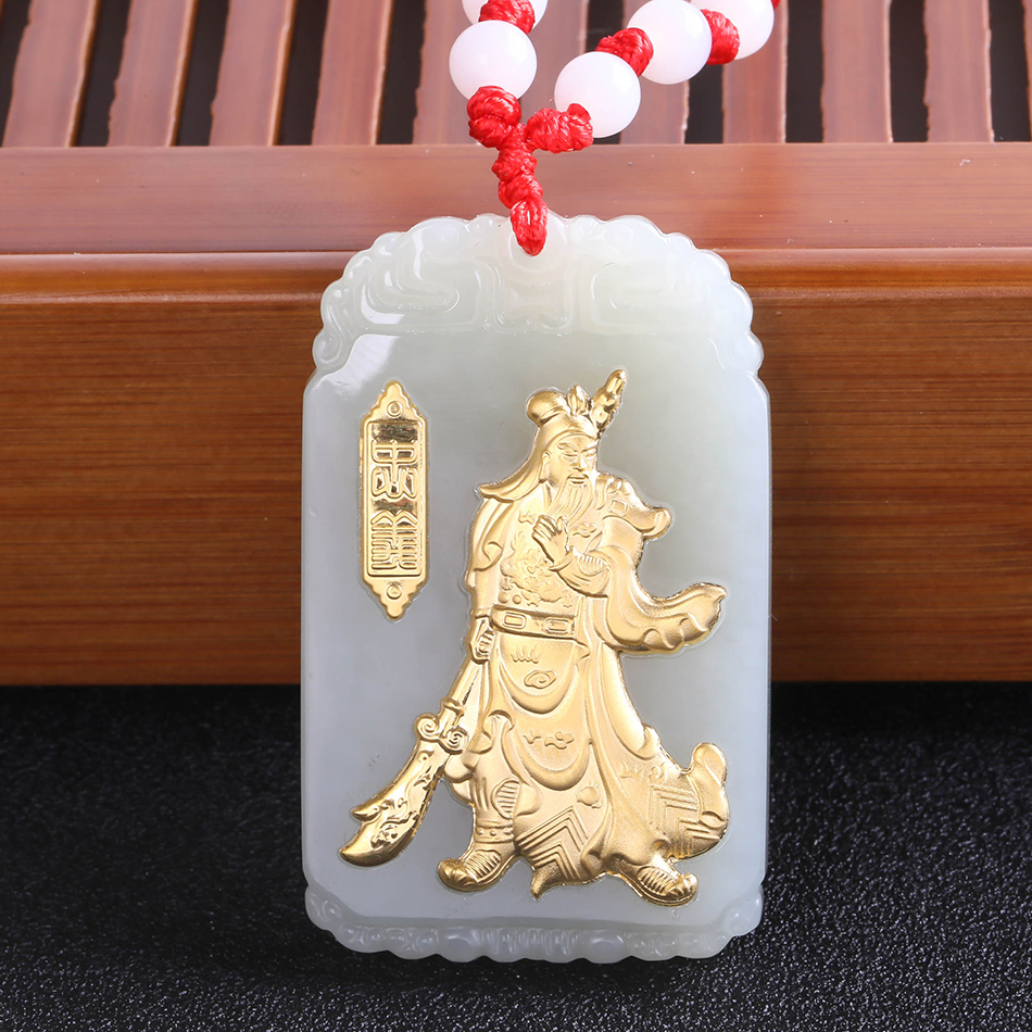 Fine Hetian Jade 3D Gold Inlay Guan Yu Erye Guan Gong Necklace Martial God of Wealth Long Pendant Ethnic Jewelry 8662 Gift box brass copper famous three kingdoms guan ping zhou cang guan gong warrior god set