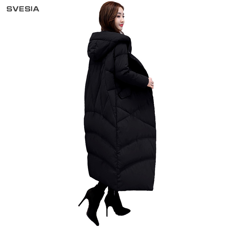 SVESIA 2018 Women's   Down     Coats   Winter Fashion Temperament Long Sleeve Hooded Single-breasted   Coats   Overcoats Women Jackets