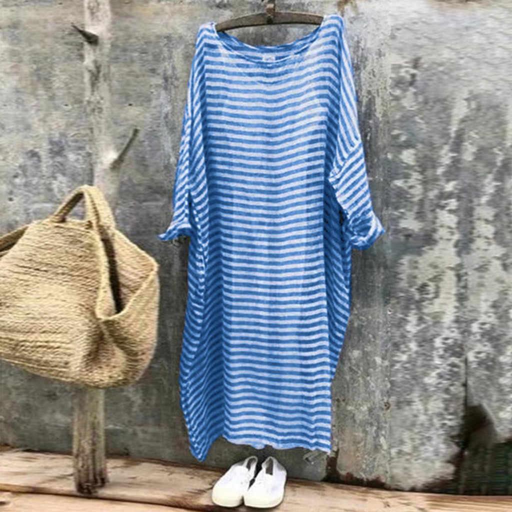 נשים פס הדפסת שמלה מזדמן פשתן Loose עטלף שרוול מלא מקסי שמלות כותנה קיץ חוף שמלת 2019 בתוספת גודל