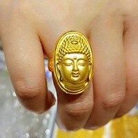 Hot sale Fine Pure 24K Yellow Gold Ring Women Men Luck Bless Buddha Fashion Ring 5.48g