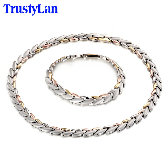 TrustyLan 43CM Long Chain Necklace Women Rose Gold Mix Color Steel