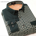 U&SHARK 2016 Winter Velvet Mens Dress Shirts Long Sleeve Green Plaid Flannel Fleece Casual Shirts Male Slim Fit Chemise Homme