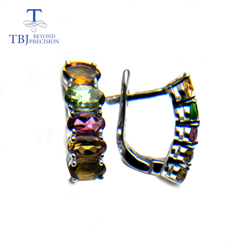 все цены на TBJ, natural fancy color tourmaline clasp earring Romantic simple design gemstone earring 925 silver for girls with gift box онлайн