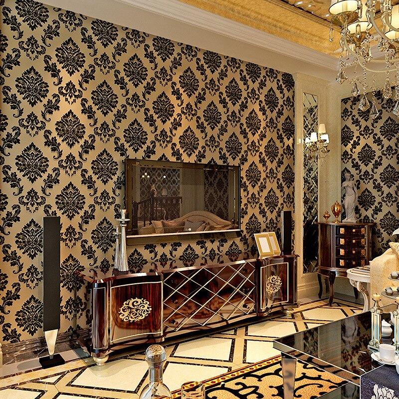 Beibehang papiers peints décor à la maison velours papier peint européen papel de parede damassé non tissé 3d papier peint papier peint pour murs 3 d