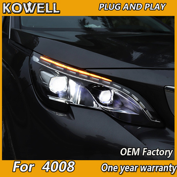 Car headlight for Peugeot 4008 5008 2017-2018 Headlights LED Angel eyes Signal light DRL Daytime light Bi-Xenon lens