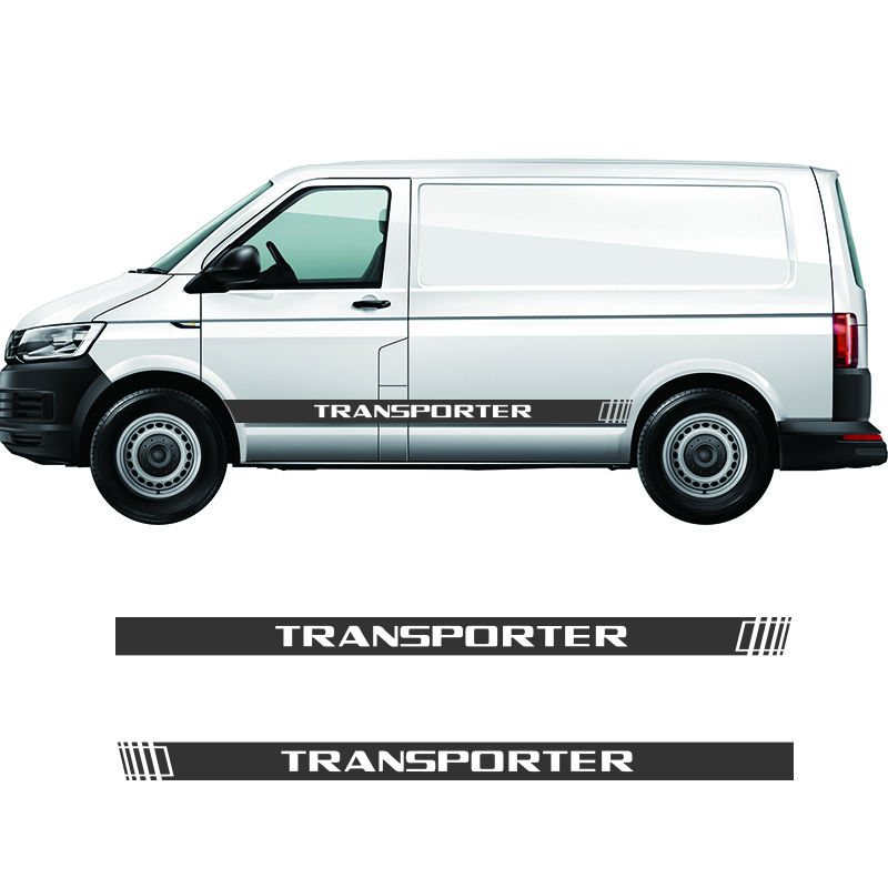 Image 2 - 2 PCS Vinyl Car Styling Transporter Side Skirt Sticker Decals Stripe Wraps Body Stickers For Volkswagen Transporter-in Car Stickers from Automobiles & Motorcycles