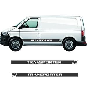 Image 2 - 2 PCS Vinyl Car Styling Transporter Side Skirt Sticker Decals Stripe Wraps Body Stickers For Volkswagen Transporter