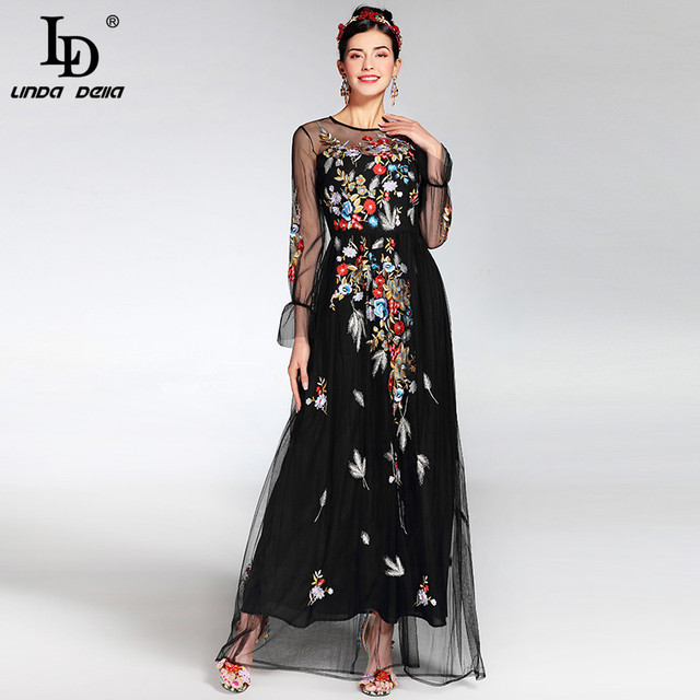Newest elegant Long Sleeve Tulle Gauze Flower Floral Embroidery Black Vintage Long Dress