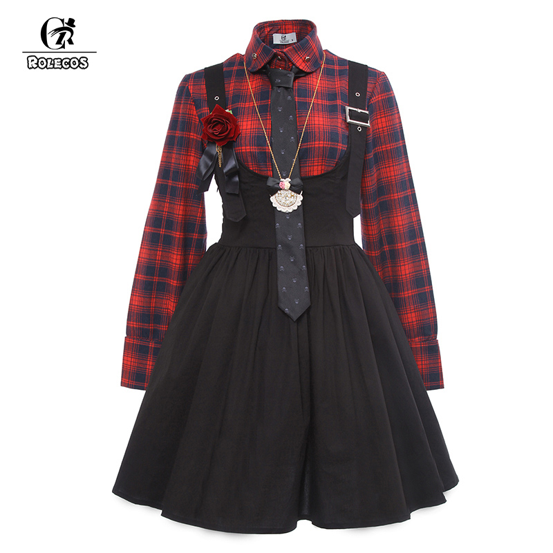 ROLECOS New Arrival Gothic Style Women Lolita Dress Plaid Shirt with Suspender Skirt Vintage Women Punk