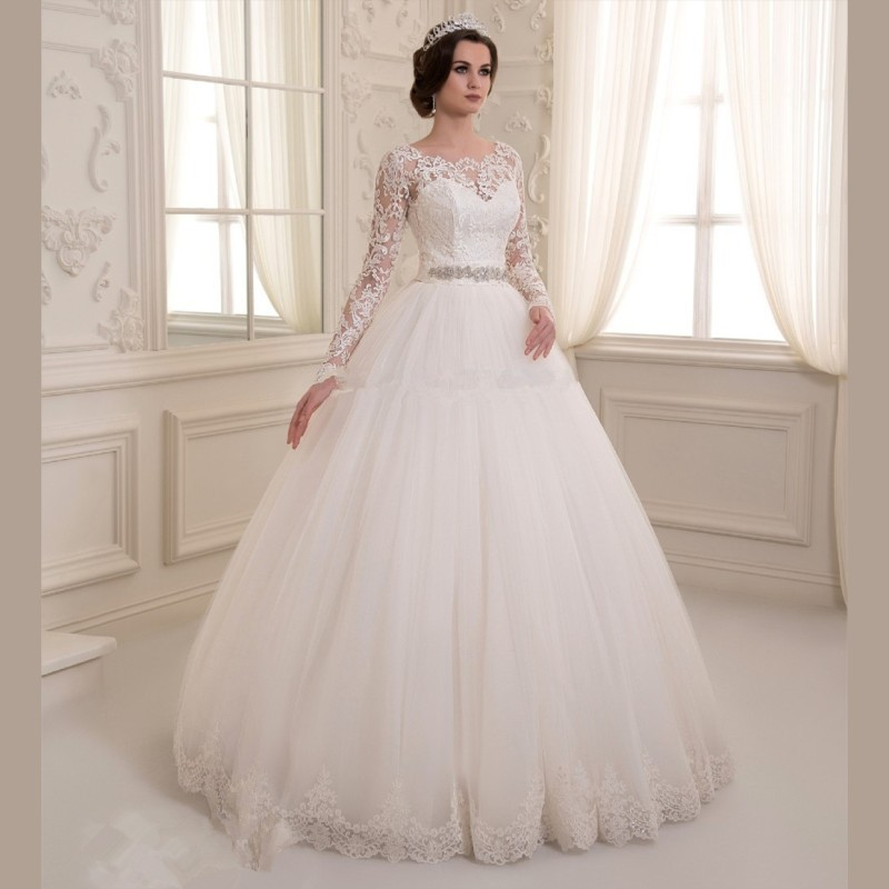 Lace ball gown wedding dresses with sleeves great ideas for White elegant wedding dresses