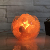 Himalayan Salt Lamp With Glass Cover Night Light Natural Air Purifier Rock Night Lamp For Aisle