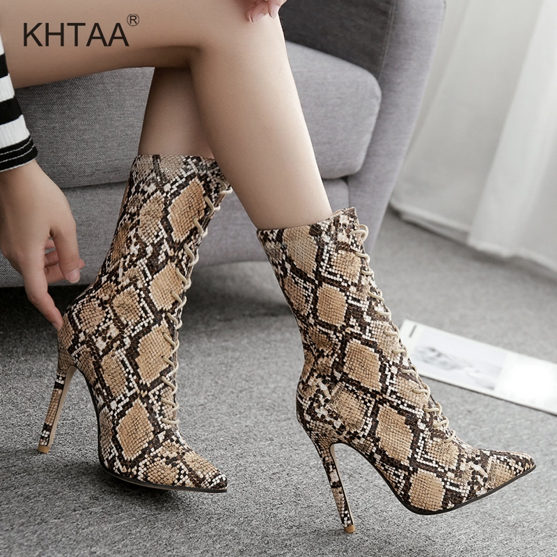 Super High Heels Snake Women Boots Mid Calf Pointed Toe Thin Heel Lace Up Ladies Winter Boots 2018 Eruopean Fashion Shoes Woman шестаков и мы идем в храм для малышей и их родителей