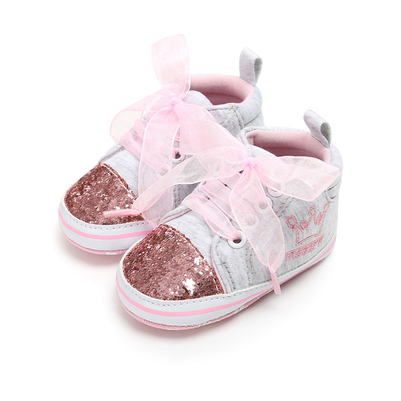 2020 Fashion Newborn Baby Girl Shoes Sequin Infant Toddler Baby Canvas Sneakers Lace Up Soft Bottom 0-1 Years Sport Shoes