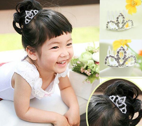 Hot Sale New 2016 Fashion Children Baby Jewelry Headdress Girls Princess rhinestone tiaras Crown Hair comb/headband