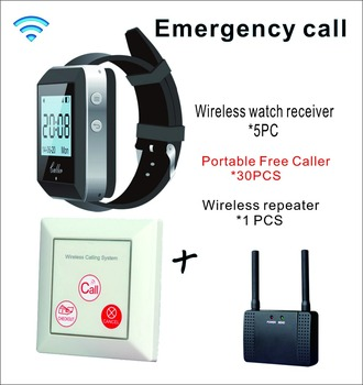 5 watch wrist receiver +30 Portable Free Caller +wireless repeater for waiter nurse emergency Wireless Calling System