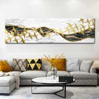 Large Posters HD Prints Golden Mountain White Wild goose On Canvas Modern Abstract Home Wall Art Pictures Set Home Decoration