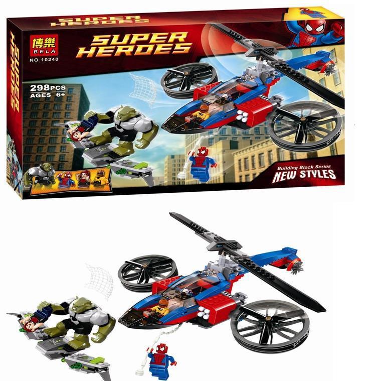 bloques de construccion super heroes grandes Green Goblin Spiderman con helicoptero de rescate Compatible con high tech rey de direccion 1056unids set modelo de helicoptero de rescate 3d abs plastico del bloque hueco bahia como regalo