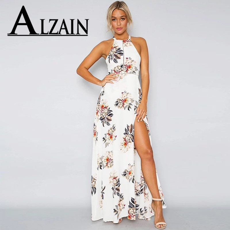 2019 Spring New Women Printing Hollow <font><b>Lace</b></font> Stitching Halter Knotted <font><b>Beige</b></font> White Navy Shirt <font><b>Sexy</b></font> Backless Split <font><b>Dress</b></font> image