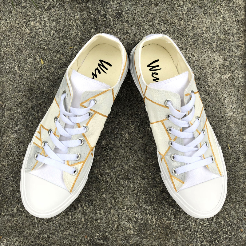 Wen Unisex Canvas Sneakers Hand Painted Shoes Low Top Original Design Irregular Gold-bordered Geometric Pattern Sport PlimsollsWen Unisex Canvas Sneakers Hand Painted Shoes Low Top Original Design Irregular Gold-bordered Geometric Pattern Sport Plimsolls