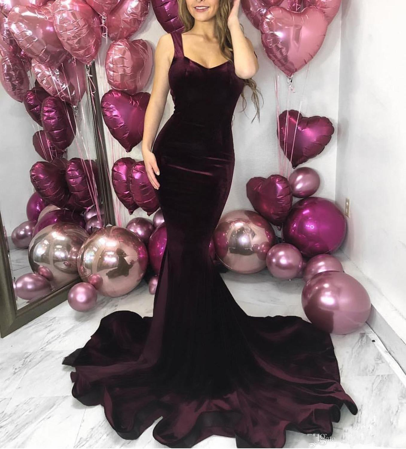 Burgundy Backless Mermaid   Prom     Dresses   Sweep Train Velvet Long Formal Evening Party Gowns Special Occasion   Dress     prom     dress