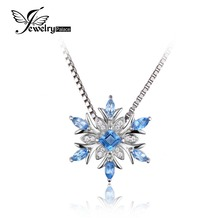 JewelryPalace Snowflake Real Blue Topaz Stable 925 Sterling Silver Pendant Pure stone Jewellery Ladies Not Embody the Chain