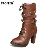 Ladies Shoes Women Boots High Heels Platform Buckle Zipper Rivets Sapatos Femininos Lace Up Leather Boots