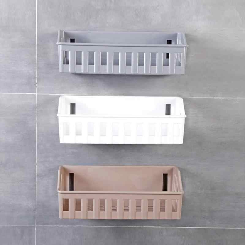 Wall Hanging Bathroom Shelves Storage Shelf Rack Plastic Bathroom Shampoo Holder Cosmetics Organizer for Kitchen