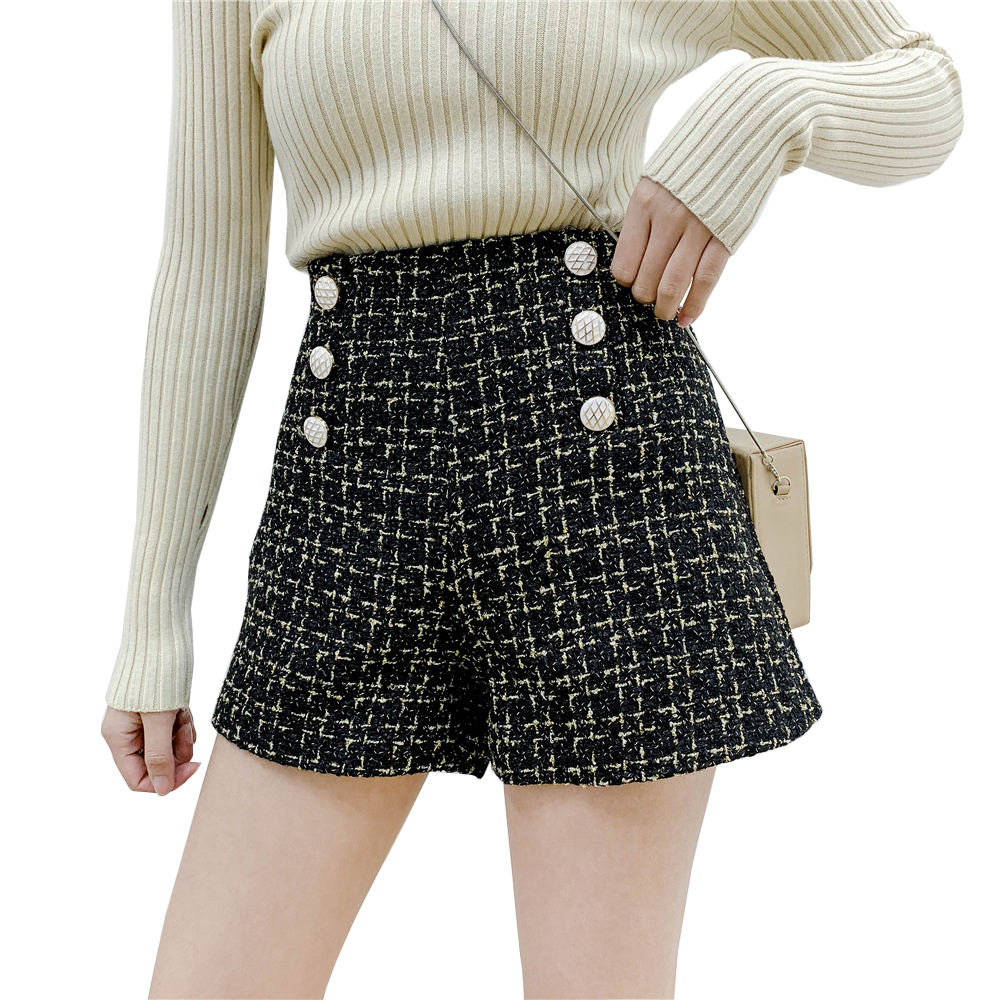 Small fragrance high waist wide leg   shorts   women 2019 spring double-breasted tweed woolen   shorts   korean elegant   short   trousers