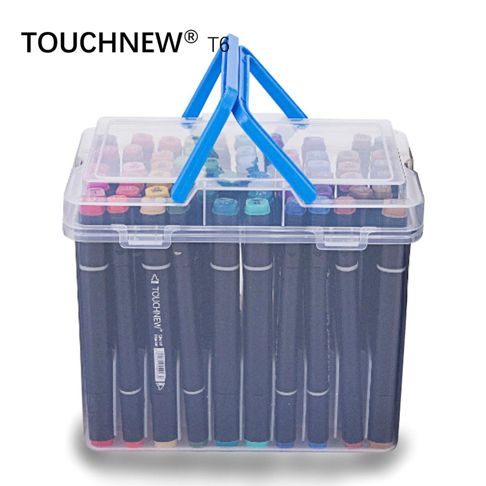 TOUCHNEW T6 60 colors dual tips black barrel sketch markers case packed for drawing painting design manga art supplies touchnew t6 60 colors dual tips white barrel sketch markers case packed for drawing painting design manga art supplies