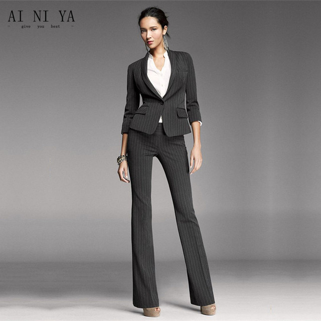 Women Pant Suits Black White Stripes Office Uniform Two Piece Las Business Female Formal Work