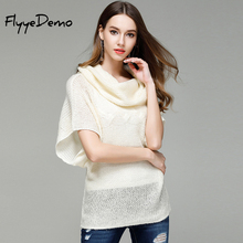 FlyyeDemo 2017 Autumn Women Scarf Collar Pullovers Fashion Loose Batwing Sweater Ladies Knitted Ponchos Short Sleeve Coat(China)