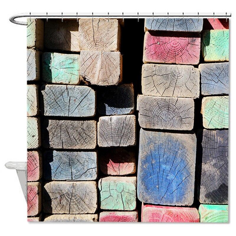 6672 marchio colorato in legno modello di stampa tessuto in poliestere tende da doccia bagno vasca da bagno con ganci decorazi