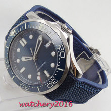 цена 41mm Blue Sterile Dial Luminous Hands Ceramic Bezel Automatic Movement men's Watch онлайн в 2017 году