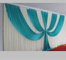 Beautiful Design White and Tiffany Blue Ice Silk Wedding Backdrop 3m*6m(10ft*20ft) for Wedding Party Decorations Free Shipping
