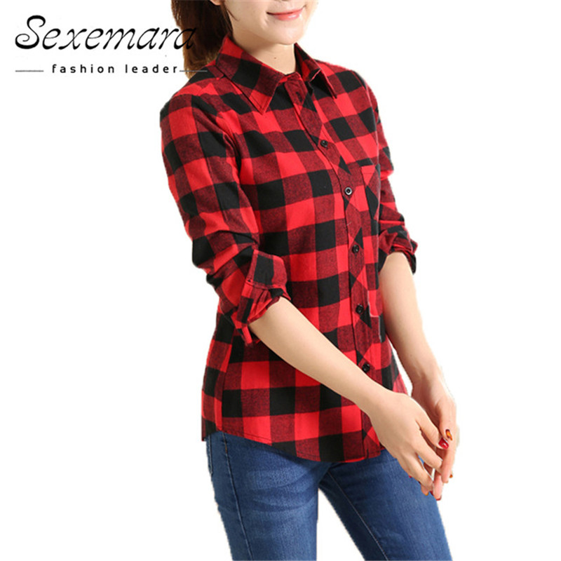 2020 New Cotton Checkered Plaid Blouses Shirt Cage Female Long Sleeve Casual Slim Women Plus Size Shirt Office Lady Tops Red
