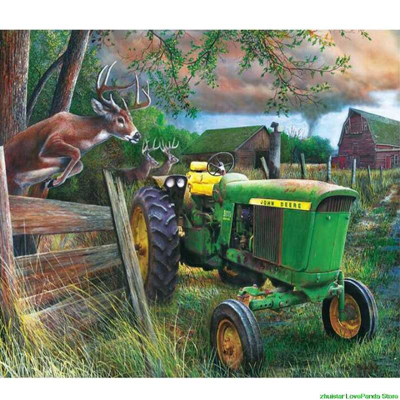diamond painting accessories Elks Tractor diamond Embroidery icons Cross stitch kits mosaic christmas decorations for home