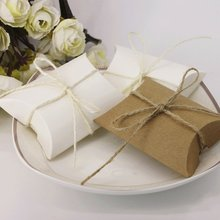 50pcs Kraft Paper Box Pillow Gift Bag with Rope Gift Box Packaging Wedding Favors Candy Box Present Embalagem Party Supplies