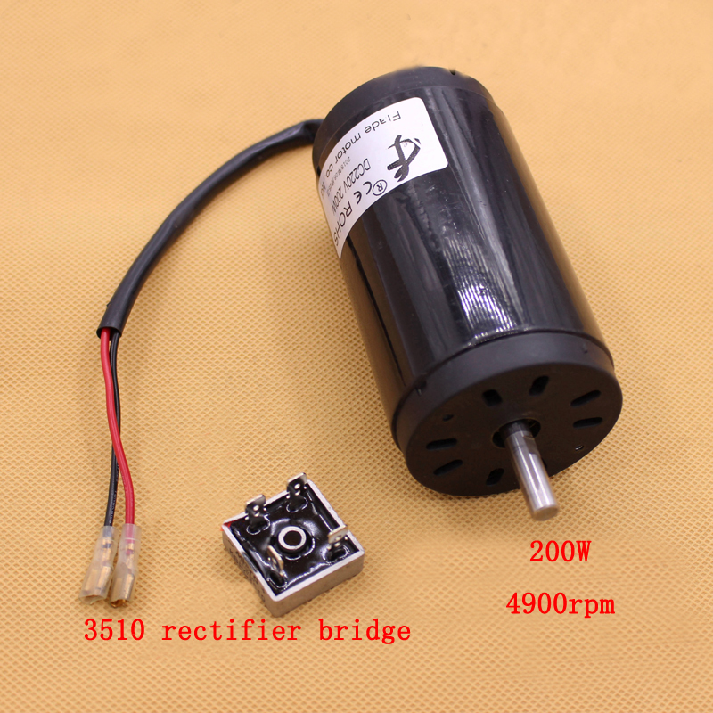 1pcs Permanent Magnet DC Motor 220V 200W Silent Double Ball Bearing Motor 4900rpm Spindle Lathe Bead