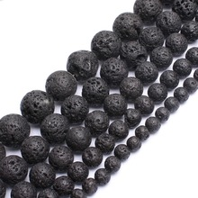 "wholesale 6.8.10.12.14mm Natural Black Volcanic Lava Stone Round Beads 15.5"" Pick Size For Jewelry Making-F00071"