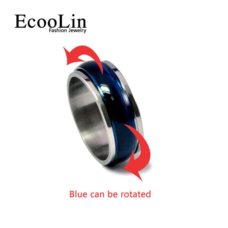 2017 Vânzare fierbinte Nouă bijuterii de modă blat de ochi de pisică albastru bărbați femei rotire inel de nuntă din oțel inoxidabil pentru femei inele pentru bărbați LB221