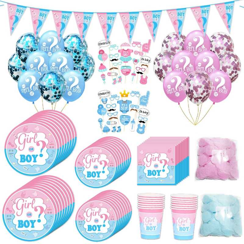 Gender Reveal Tableware Girl or Boy Latex Balloon Baby Shower Confetti Balloons Birthday Party Decorations Kids Favor Supplies