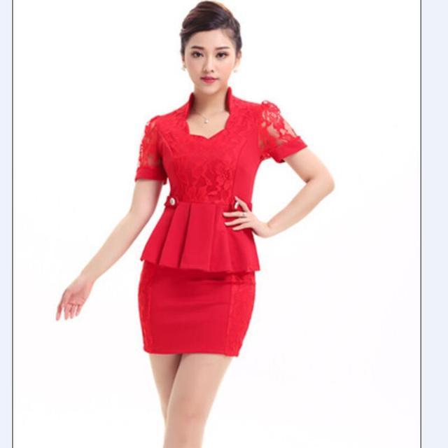 2015 frete grátis verão mulheres uniformes New Design saia vermelha ternos escritório Formal ternos mulheres trabalho desgaste Blazer feminino terno de saia