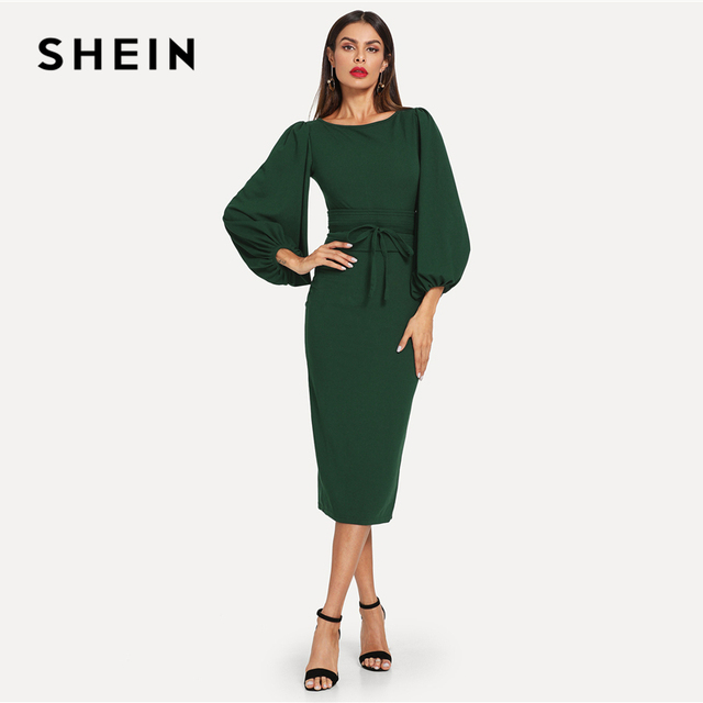 ceeb37b4bf557 SHEIN Green Tie Waist Lantern Sleeve Dress Elegant Party Boat Neck ...