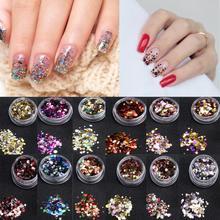 1 Box Shiny Nail Art Glitter Paillette Tips UV Gel 3D Nail Decoration Sequins Colorful Manicure DIY NAccessories Y503